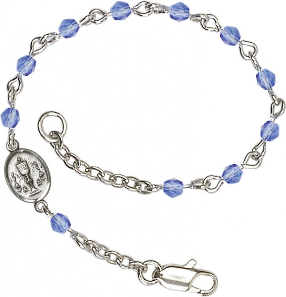 Girls Silver Chalice First Communion Bracelet 4mm Crystal Beads - Sapphire