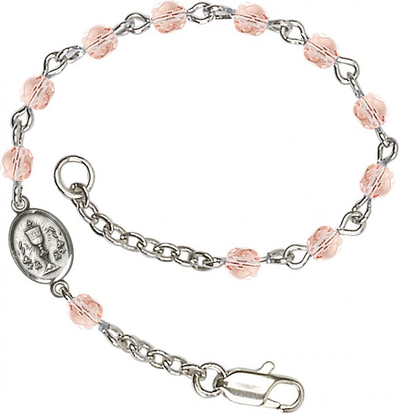Girls Silver Chalice First Communion Bracelet 4mm Crystal Beads - Rose