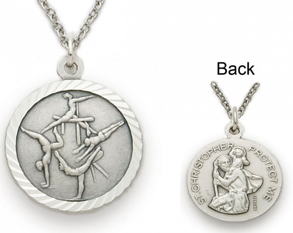 Girls St. Christopher Gymnastics Sports Medal with Chain - Silver