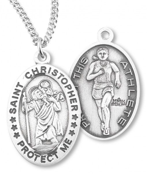 Women's St. Christopher Track Medal Sterling Silver - Sterling Silver