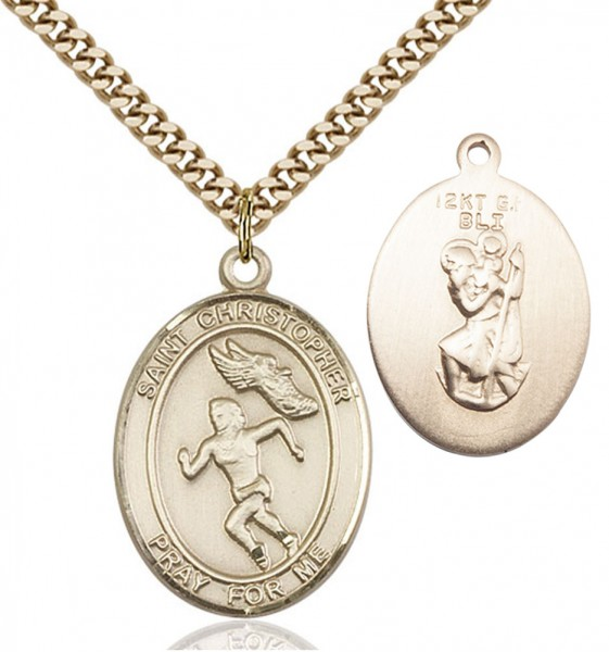 Girl's St. Christopher Track and Field Medal - 14KT Gold Filled