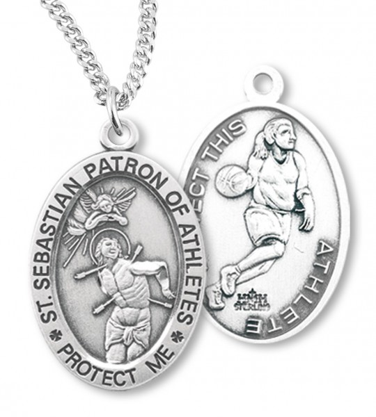 Girls st sebastian basketball medal sterling silver girls st sebastian basketball medal sterling silver silver aloadofball Images