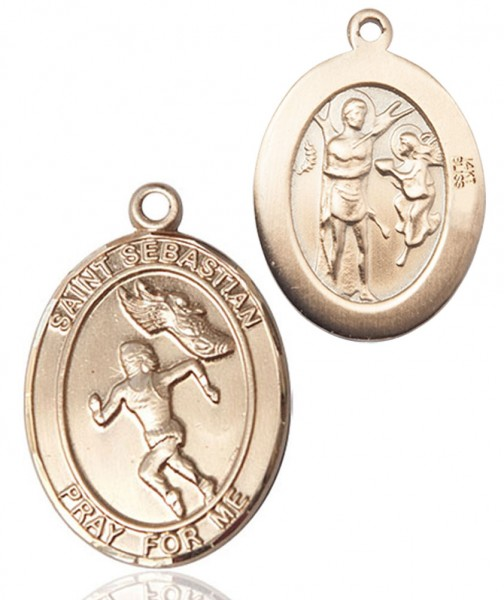 Girl's St. Sebastian Track & Field Medal - 14K Yellow Gold