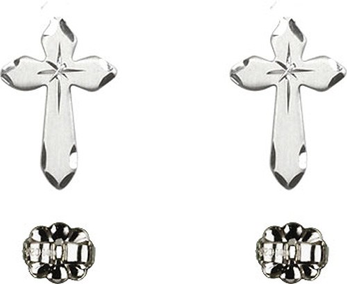 Girl's Sterling Silver Cross Post Earrings - Sterling Silver