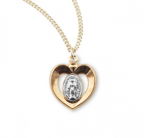 Girl's Two-Tone Miraculous Heart Necklace - Gold | Silver