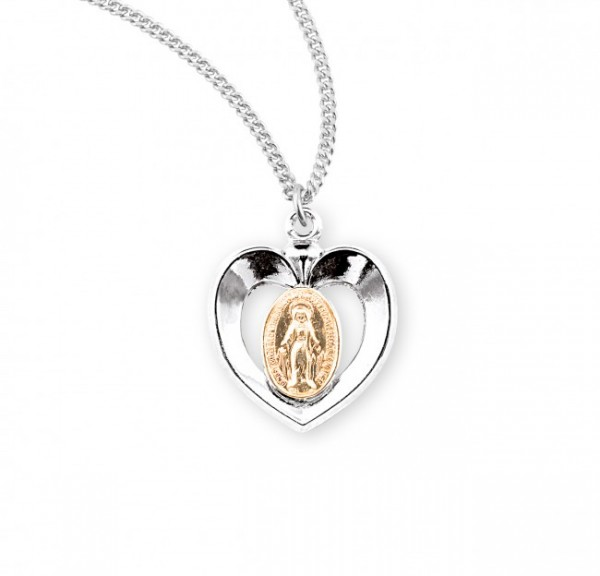 Girl's Two-Tone Miraculous Heart Necklace - Sterling Silver