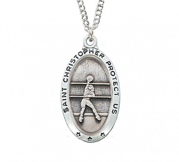 Girls Volleyball Necklace - Sterling Silver