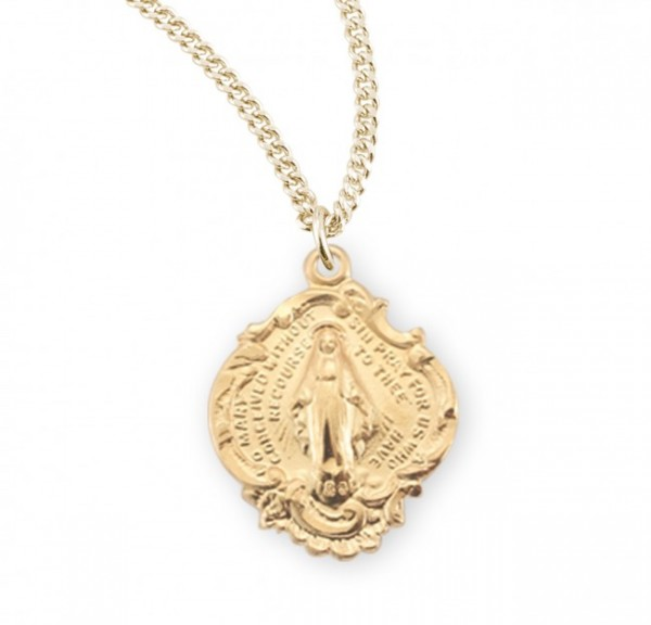 Girl's Wide Budded Edge Miraculous Pendant - Gold Plated