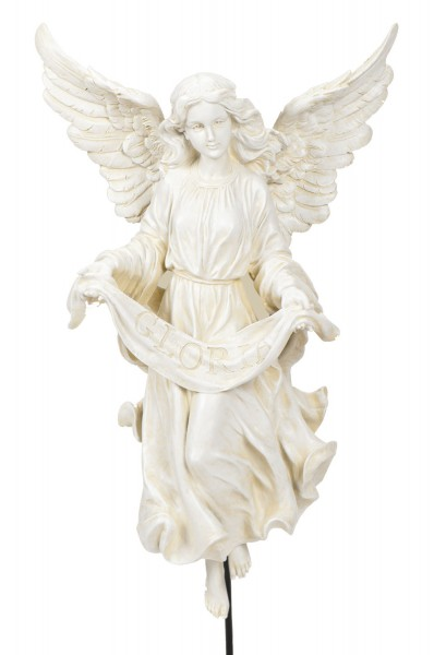 "Gloria Angel on Stand 30"" for 27"" Scale Nativity Set - Natural Stone"