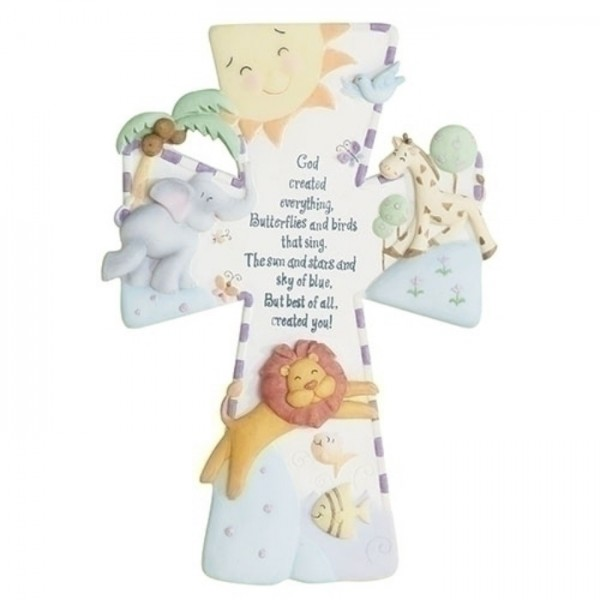 "God Created Everything Baby Cross 7"" - Multi-Color"