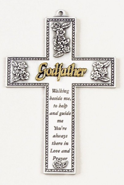Godfather Silver Wall Cross - 5 inch - Silver