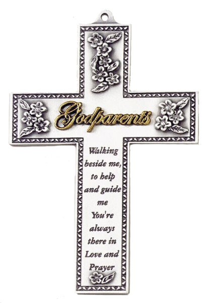 Godparents Silver Wall Cross - 5 inch - Two-Tone
