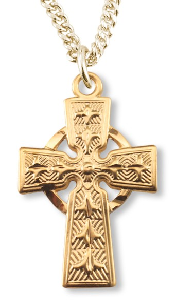Gold Plated Celtic Cross Pendant - Gold Tone