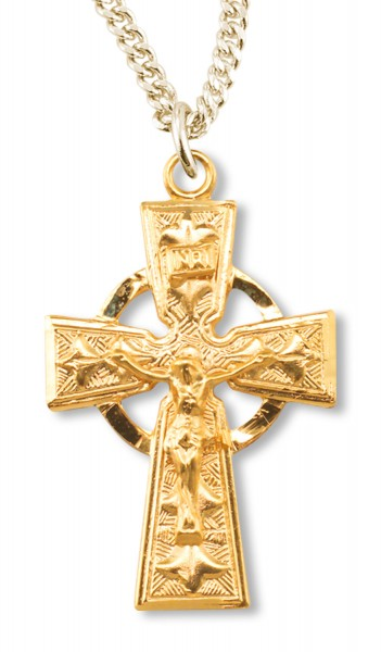 Gold Plated Celtic Crucifix Pendant - Gold