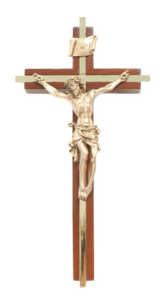 "Gold-Plated Inlay Wall Crucifix in Walnut and Antique Gold Finish 8"" - Brown"