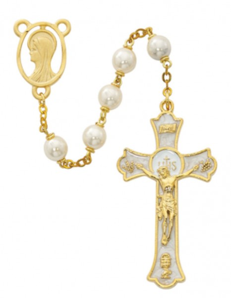 Gold Tone and White Enamel First Communion Rosary - Pearl White