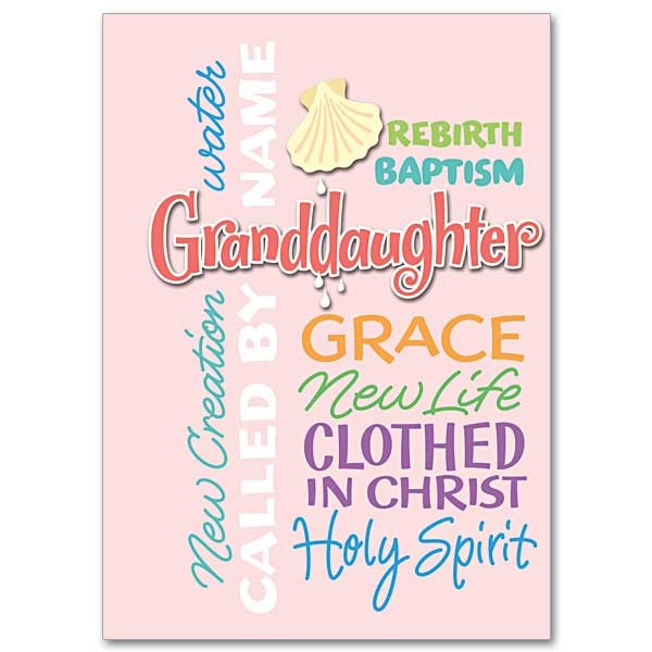 Granddaughter Baptism Greeting Card - Pink