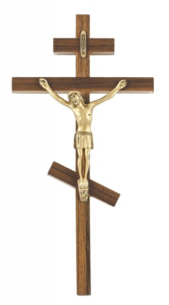"Greek Orthodox Wall Crucifix in Walnut with Antique Gold Finish Corpus 10"" - Brown"