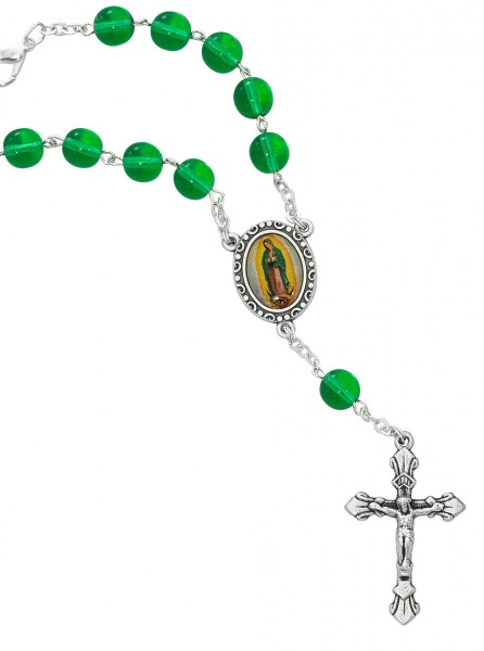 Guadalupe Green Glass Auto Rosary - Green