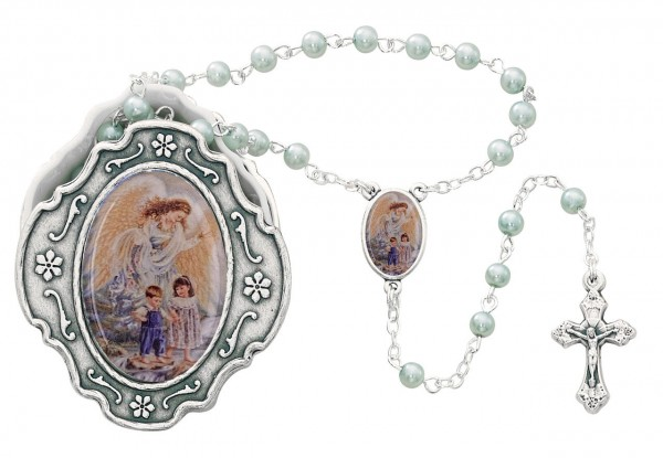 Guardian Angel Blue Faux Pearl Rosary with Ornate Box - Blue
