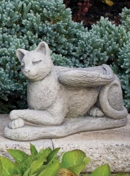 Guardian Angel Cat Statue 9.5 Inches - Classic Sand Stone Finish