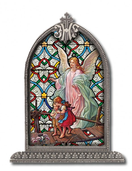 Guardian Angel Grace Glass Art in Arched Frame - Full Color