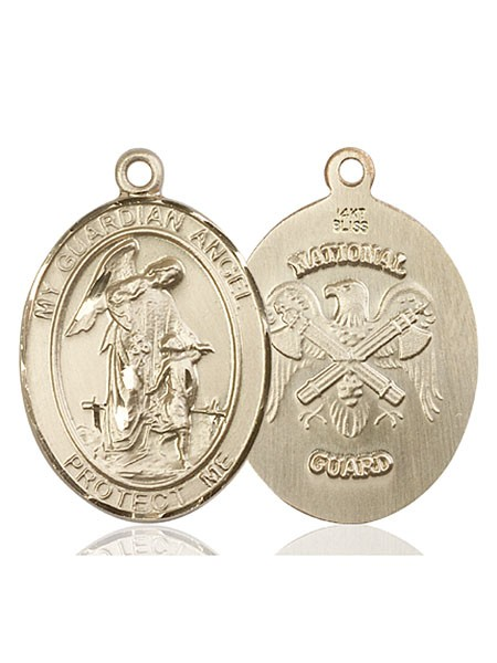 Guardian Angel National Guard Medal - 14K Yellow Gold
