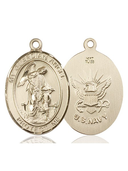 Guardian Angel Navy Medal - 14K Yellow Gold
