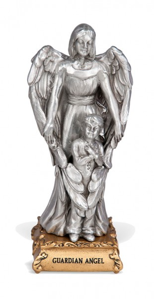 Guardian Angel with Boy Pewter Statue 4 Inch - Pewter