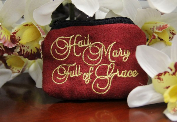 Hail Mary Full of Grace Cloth Rosary Case - Red
