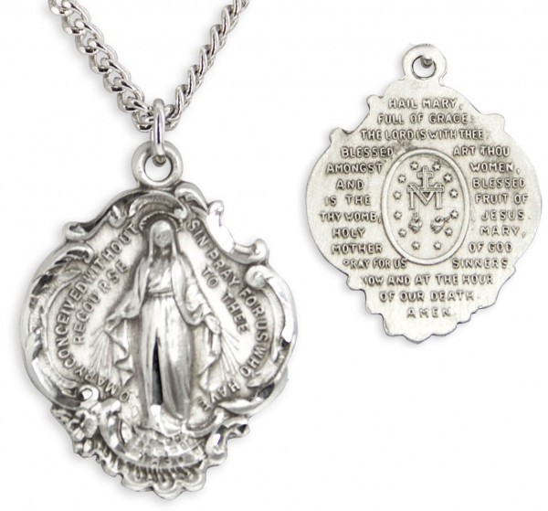 Hail Mary Miraculous Pendant - Sterling Silver
