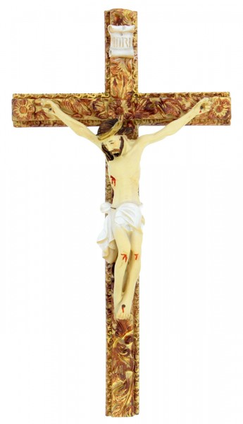 Hand Painted Tomaso Ornate Crucifix - 8 inch - Brown