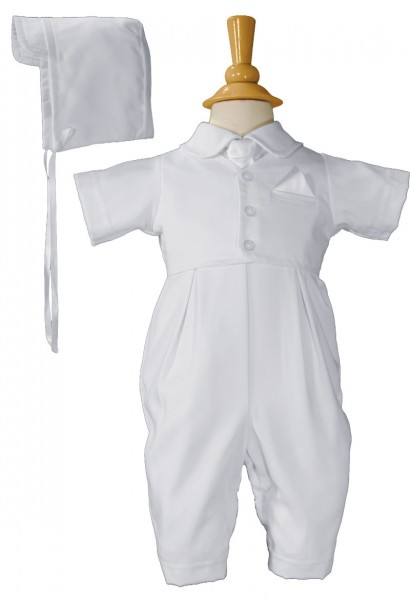 Handsome Vested Gabardine Short Sleeve Coverall - White