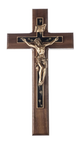 "Heart Overlay Walnut Wall Crucifix with Antique Gold Finish Corpus 10"" - Brown"
