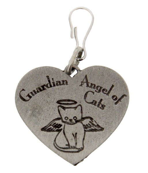 Heart Shaped Guardian Angel Cat Pet Medal - Pewter