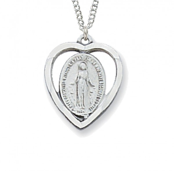 Heart Shaped Miraculous Medal Sterling or Pewter - Silver