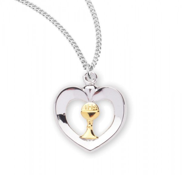Heart Shaped Pendant with Chalice Centerpiece - Two-Tone Silver