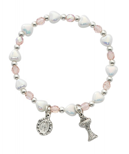 Heart and Pink Glass Bead First Communion Stretch Bracelet - Pink