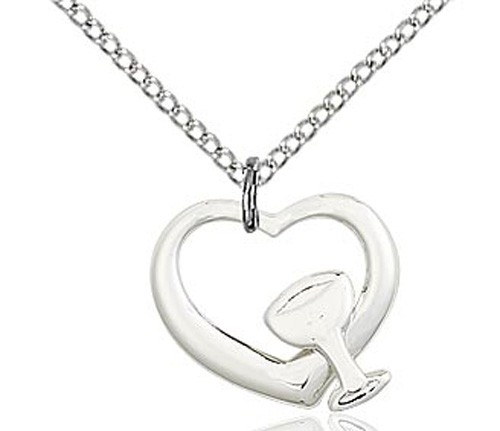 Heart with Chalice Medal - Sterling Silver