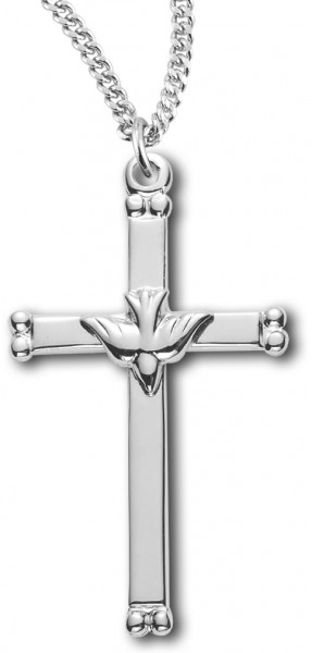 High Polish Cross Pendant with Holy Spirit Center - Sterling Silver
