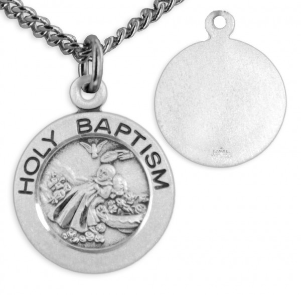 "Holy Baptism Medal and 18"" Chain - Sterling Silver"
