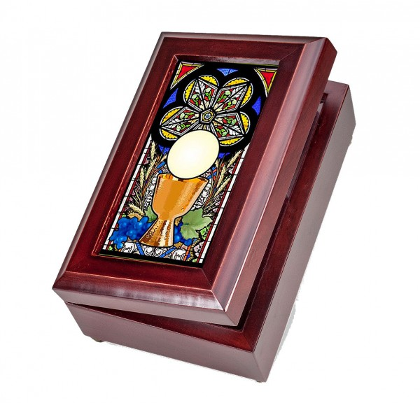 Holy Chalice Music Box First Communion Gift - Full Color