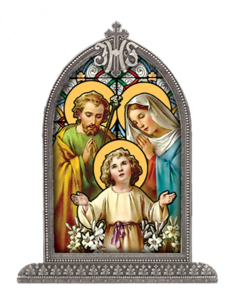 Holy Family Glass Art in Arched Frame - Full Color