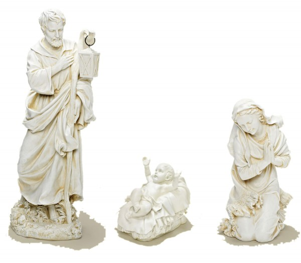 Holy Family Nativity Three-piece Set, 27.5 inches - Natural Stone