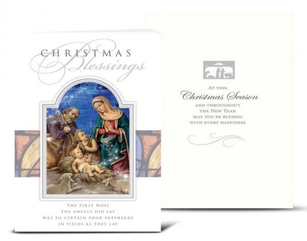 Holy Family Stained Glass Window Christmas Card Set - Full Color