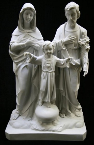 Holy Family Statue White Marble Composite - 26 inch - White