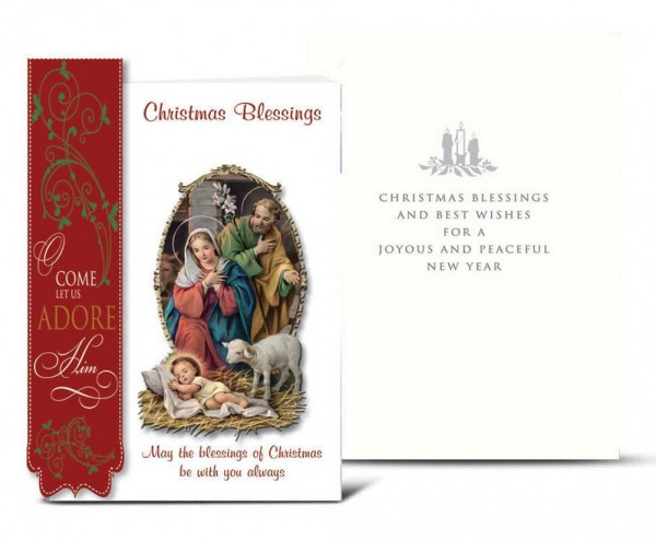 Holy Family with Red Side Banner Christmas Card Set - Full Color