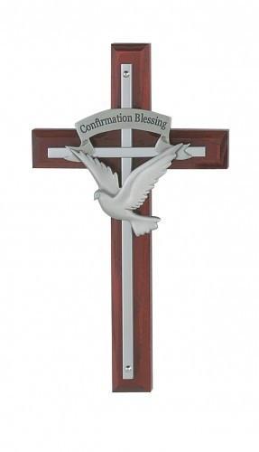 Holy Spirit Cherry Overlay Cross - Cherry Wood
