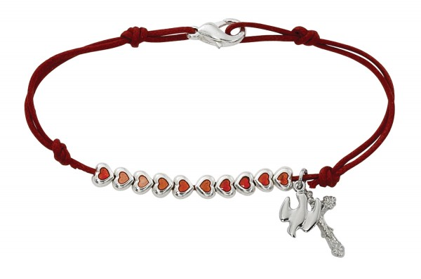Holy Spirit Corded Bracelet with Enamel Hearts 7.5 Inches - Red