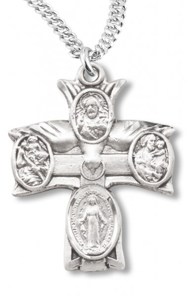 Holy Spirit Cross 4 Way Pendant - Sterling Silver